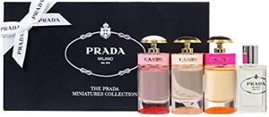 Prada by Prada for Women 4 Piece MINI Set Includes: Les Infusions de Prada Iris Eau de Parfum 0.27 oz + Prada Candy Eau de Parfum 0.24 oz + Prada Candy Florale 0.24 oz + Prada Candy L'eau Eau de Toilette 0.24 oz