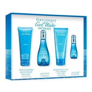 Cool Water by Davidoff for Women 4 Piece Set Includes: 1.7 oz Eau de Toilette Spray + 2.5 oz Shower Breeze + 2.5 oz Body Lotion + 0.5 oz Eau de Toilette Spray