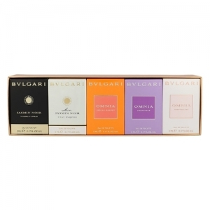 Bvlgari Collection by Bvlgari for Women Gift Collection 5 Piece Mini Set Includes: Omnia Crystalline + Omnia Amethyste + Omnia Indian Garnet + Mon Jasmin Noir L'eau Exquise + Mon Jasmin Noir and all are .17 oz