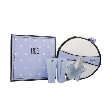 Angel by Thierry Mugler for Women Set Includes: Eau de Parfum Spray 0.85 oz + Body Lotion 1.0 oz + Shower Gel 1.0 oz + White Pouch