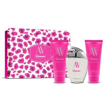 AV Glamour by Adrienne Vittadini for Women Set Includes: Eau de Parfum Spray 3.0 oz + Body Lotion 3.3 oz + Shower Gel 3.3 oz