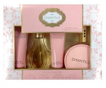 Chantilly by Dana for Women Set Includes: Eau de Toilette Spray 1.0 oz + Body Lotion 2.5 oz + Body Wash 2.5 oz