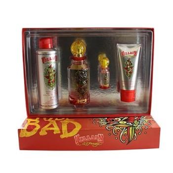 Ed Hardy Villain by Christian Audigier for Women Set Includes: Eau de Parfum Spray 4.2 oz + Shimmering Body Lotion 3.0 oz + Eau de Parfum Spray Mini 0.25 oz + Body Oil Spray 6.0 oz