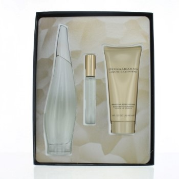 Liquid Cashmere White by Donna Karan for Women Set Includes: Eau de Parfum Spray 3.4 oz + Eau de Parfum Rollerball 0.34 oz + Body Lotion 3.4 oz