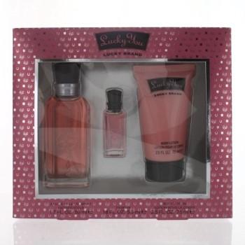 Lucky You For Women by Lucky Brand for Women Set Includes: Eau de Toilette Spray 1.7 oz + Parfum Mini 0.18 oz + Body Lotion 2.5 oz