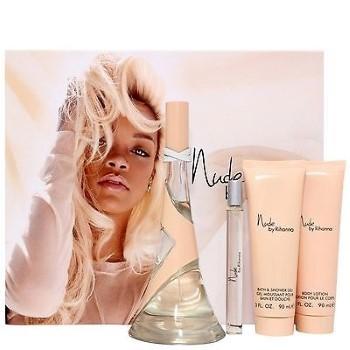 Nude By Rihanna by Rihanna for Women Set Includes: Nude By Rihanna Eau de Parfum Spray 3.4 oz + Eau de Parfum Spray Mini 0.34 oz + Body Lotion 3.0 oz + Bath & Shower Gel 3.0 oz + In Gif Box
