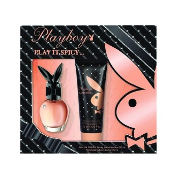 Playboy Play It Spicy by Coty for Women Set Includes: Eau de Toilette Spray 1.0 oz + Body Lotion 2.5 oz