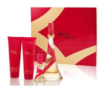 Rebelle by Rihanna for Women Set Includes: Eau de Parfum Spray 3.4 oz + Eau de Parfum Spray 0.5 oz + Body Lotion 3.0 oz + Bath & Shower Gel 3.0 oz