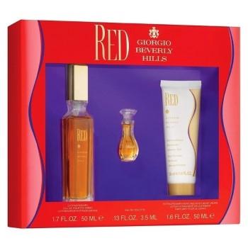 Red by Giorgio Beverly Hills for Women Set Includes: Eau de Toilette Spray 1.7 oz + Eau de Toilette Mini 0.13 oz + Body Lotion 1.6 oz