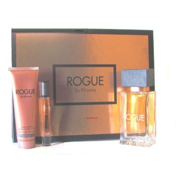 Rogue By Rihanna by Rihanna for Women Set Includes: Eau de Parfum Spray 4.2 oz + Eau de Parfum Rollerball Mini 0.2 oz + Body Lotion 3.0 oz