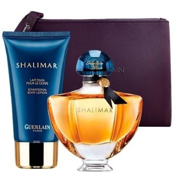 Shalimar by Guerlain for Women Set Includes: Eau de Parfum Spray 1.7 oz + Body Lotion 2.5 oz + Guerlain Black Pouch