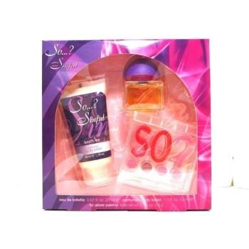 So..? Sinful by So...? for Women Set Includes: Eau de Toilette Spray 0.67 oz + Body Lotion 1.7 oz + Color Palette 0.02 oz