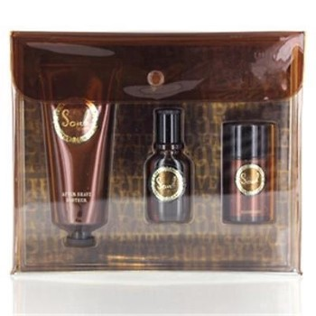 Curve Soul by Liz Claiborne for Men Set Includes: Cologne Spray 0.5 oz + After Shave Balm Soother 3.4 oz + Deodorant Stick 1.0 oz + In Clear Brown Case