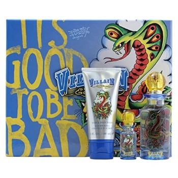 Ed Hardy Villain by Christian Audigier for Men Set Includes: Eau de Toilette Spray 2.5 oz + Hair & Body Wash 3.0 oz