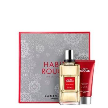 Habit Rouge by Guerlain for Men Set Includes: Eau de Toilette Spray 3.3 oz + Shower Gel 2.5 oz