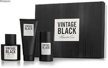 Kenneth Cole Vintage Black by Kenneth Cole for Men Set Includes: Eau de Toilette Spray 1.7 oz + After Shave Balm 3.4 oz + Alcohol Free deodorant Stick 2.6 oz