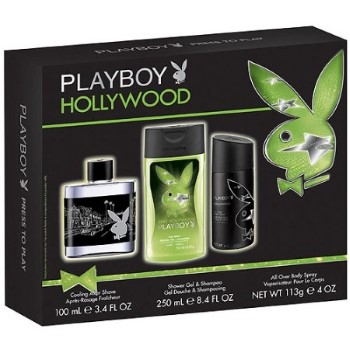 Playboy Hollywood by Coty for Men Set Includes: Body Spray 4.0 oz + Shower Gel 8.4 oz + After Shave 3.4 oz