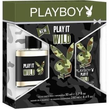Playboy Play It Wild by Coty for Men Set Includes: Eau de Toilette Spray 1.7 oz + Shower Gel 8.4 oz