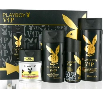 Playboy Vip by Coty for Men Set Includes: Playboy Vip Body Spray 4.0 oz + Playboy Vip Shower Gel 8.4 oz + Playboy Vip Shower Gel 13.5 oz + Playboy Morning Fight After Shave Balm 3.4 oz