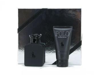 Polo Double Black by Ralph Lauren for Men Set Includes: Eau de Toilette Spray 2.5 oz + Body Wash 2.5 oz
