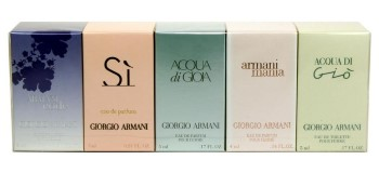 Giorgio Armani by Giorgio Armani for Women MINI Set Includes: Armani Code Femme Eau de Parfum Mini 0.1 oz + Si Eau de Parfum Mini 0.23 oz + Acqua Di Gioia Eau de Toilette Mini 0.17 oz + Armani Mania Eau de Parfum Mini 0.17 oz + Acqua Di Gio Eau de Toilett
