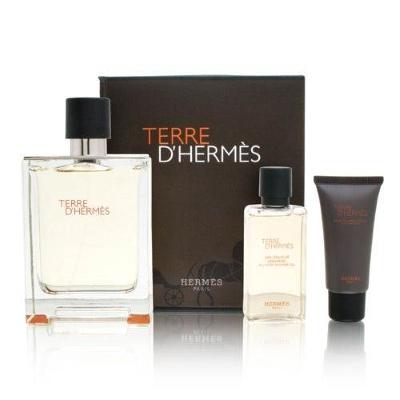 Terre D'Hermes by Hermes for Men 3 Piece Set Includes: 3.3 oz Eau de Toilette Spray + 1.35 oz After Shave Balm + 1.35 oz Shower Gel